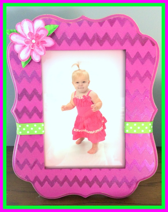Pink and Green Baby Shower Frame