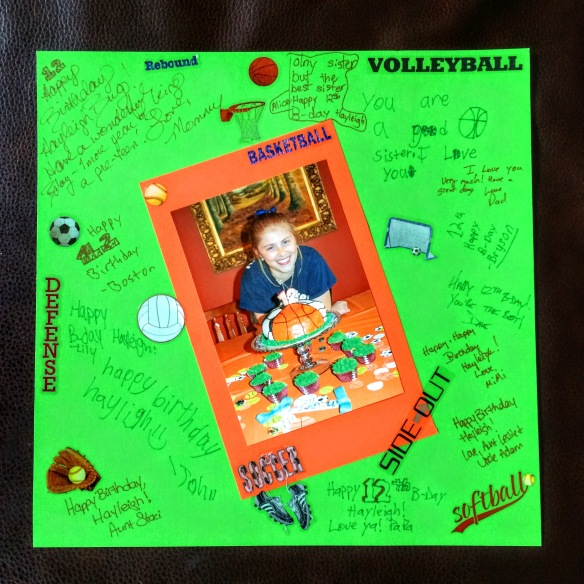 Sport Birthday Scrapbook page